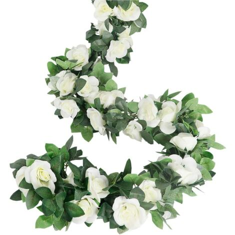 """main image of """"LangRay Rose Garland, Artificial Rose Tendrils, 4 Pieces, Artificial Silk, Flower Garlands for Home, Office, Arch and Garden Decor White"""""""