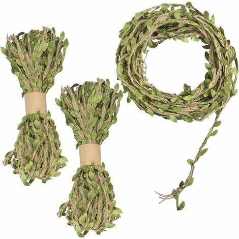 LangRay Ruban en feuille de jute de 98 pieds, toile de jute tissée, ficelle de vigne en jute avec suspensions naturelles, feuilles artificielles de couleur verte