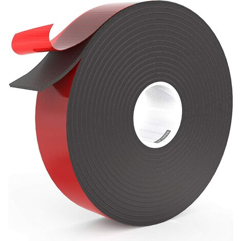 LangRay Ruban mousse double face 2,5cm x 15m tailles multiples pour garniture de voiture automobile bande de remplissage des espaces de montage adhésif extérieur intérieur résistant aux intempéries