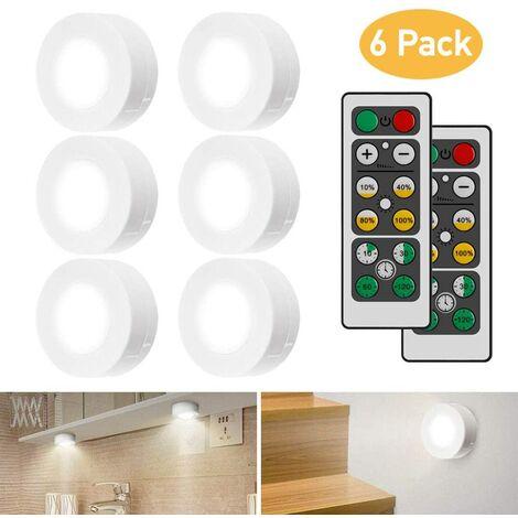LangRay Schrankleuchten LED mit Fernbedienung, Schrank Lichter 6 Stück Schrankbeleuchtung LED Nachtlicht Kabinett Beleuchtung LED Schranklicht für Schlafzimmer, Kleiderschrank, Kabinett, Küche - Weiß