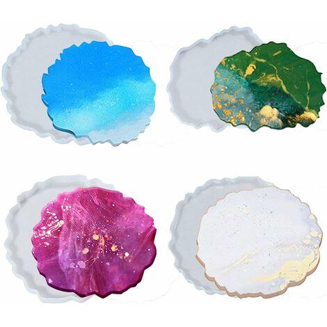 LangRay Sous-verres de moule en silicone Résine époxy - 4 moules en silicone Ensemble de résine époxy, Ensemble de moulage en résine bricolage, Grand moule en silicone en résine, Sous-verres en résine Art Agate, Moules en résine en silicone
