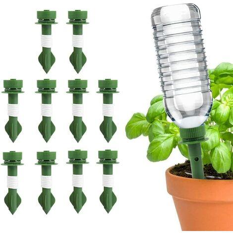 LangRay Spike Riego automático de plantas, macetas de cerámica de 10 picos, aspersor automático de goteo para plantas de vacaciones, sistema de riego por aspersión