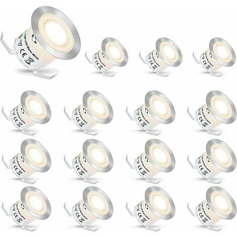 LangRay Spot LED Encastrable,Spots Encastrés LED Extérieur Spots Luminaires pour Escaliers Lumière Step Stair Garden Patio, IP67 Etanche (Blanc naturel, 16 Pièces)