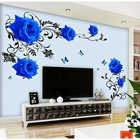 LangRay Sticker mural Roses bleues vrille XL fleurs Stickers muraux Stickers muraux salon chambre déco sticker mural décor