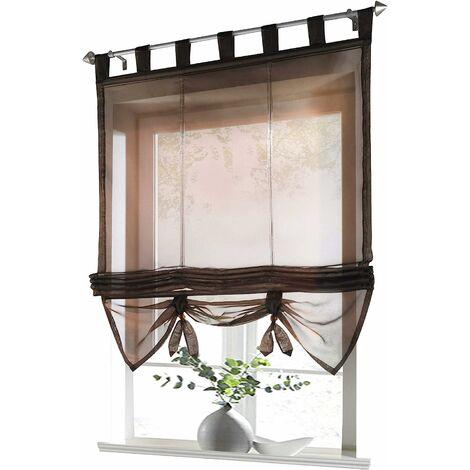 LangRay Store romain avec boucles rideaux Cuisine stores romains Rideaux transparents à boucle aveugle Voile moderne café LxH 60x155cm 1 pièce
