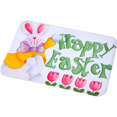 LangRay Tapis de Joyeuses Pâques Tapis de Porte Lapin de Printemps Paillasson de Pâques Fleur Paillasson de Bienvenue Intérieur et Extérieur de Pâques