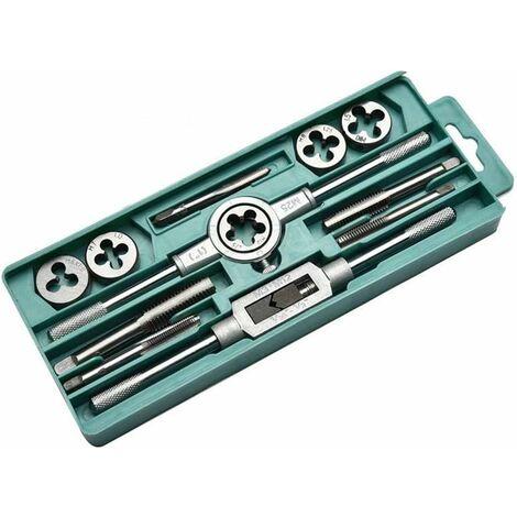 LangRay Tarauds et filières Kits 12Pcs Clé Vis métrique outils taraudage à la main M3-M12 M25