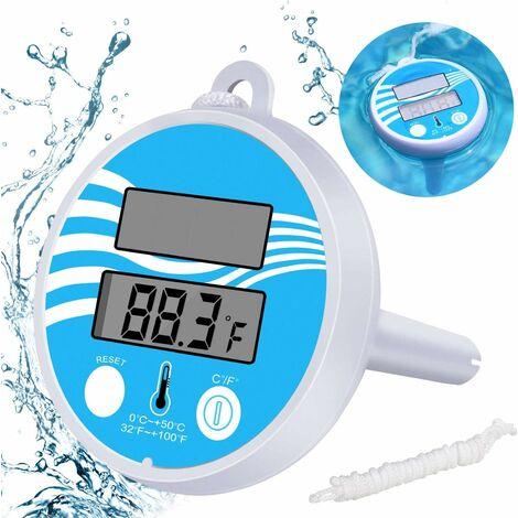 LangRay Termómetro de piscina de energía solar Termómetro flotante digital Medición de temperatura Piscina de agua Spa Temperatura de estanque para baño digital