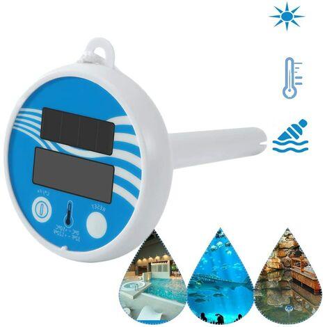 LangRay Termómetro solar para piscina, termómetro digital con energía solar, estanque inalámbrico, piscina flotante, LCD, termómetro para piscina, termómetro solar, termómetro flotante