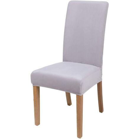 """main image of """"LangRay Velvet Stretch Dining Chair Covers, Washable Removable Dining Chair Covers, Set of 6, Light Gray"""""""