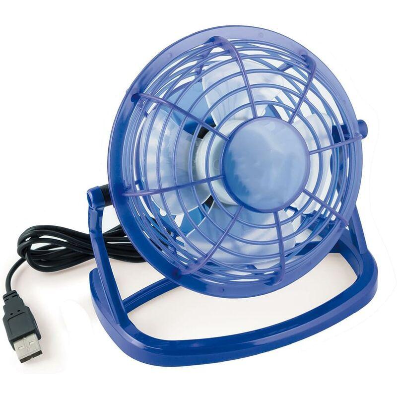 LangRay Ventilatore USB Mini USB Fan für den Schreibtisch mit An / Aus Schalter in blau