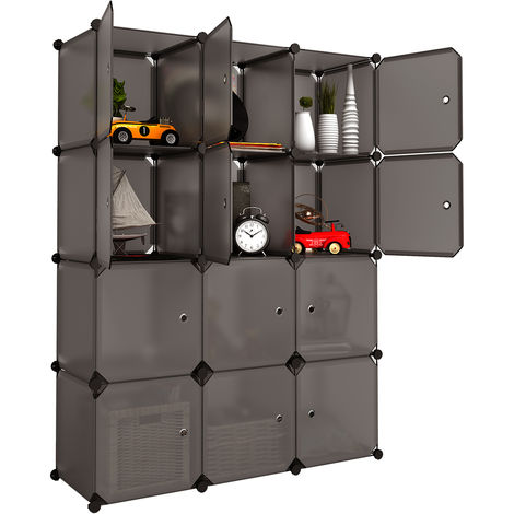 Langria 12 cubes armoire v tement penderie en plastique avec portes garde robe de rangement - Cube de rangement avec porte ...