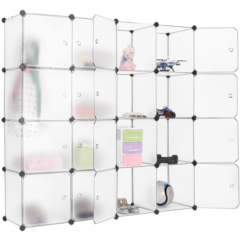Langria Armario Modular Estantería Por Módulos Armario De Almacenaje Para Ropa Zapatos Juguetes Y Libros Color Blanco 16 Cubos Con Puertas