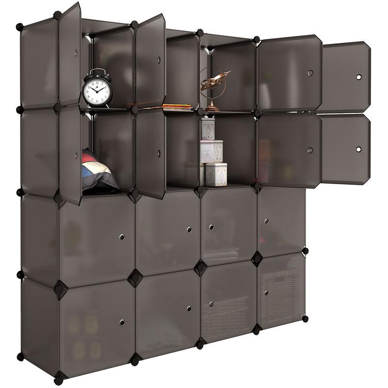 LANGRIA Armoire Penderie 16 Cubes avec Portes Étagère Modulable Meuble  Rangement Chambre pour Vêtements Chaussures Jouets Marron