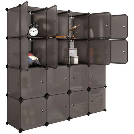 LANGRIA Armoire Penderie 16 Cubes avec Portes Étagère ...