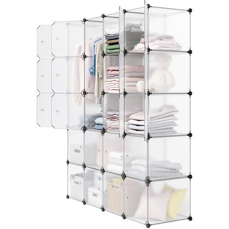 Langria armoire penderie placard 20 cubes modulaire tag res plastique meuble de rangement de - Cube de rangement avec porte ...