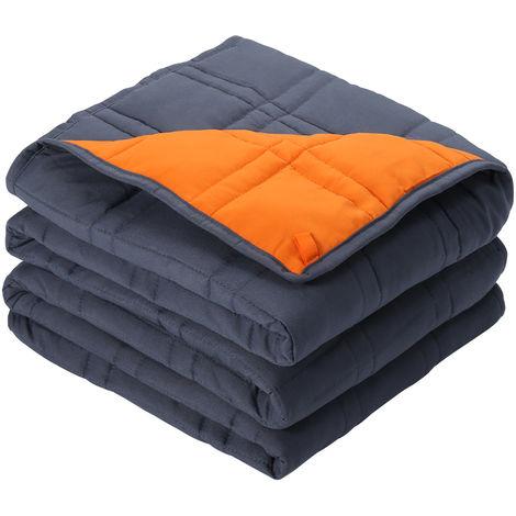LANGRIA, couverture lestée réversible (15 lb, 78 x 80 pouces), tissu avec perles de verre inodore (bleu, orange)