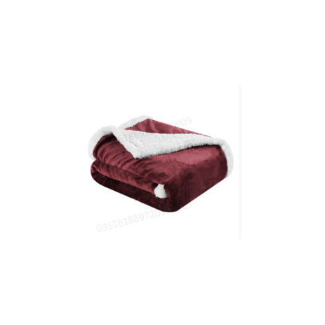 LANGRIA, couverture réversible en flanelle / sherpa, couvertures de canapé-lit Fuzzy Easy Care, 60 x 80 pouces, rouge vin