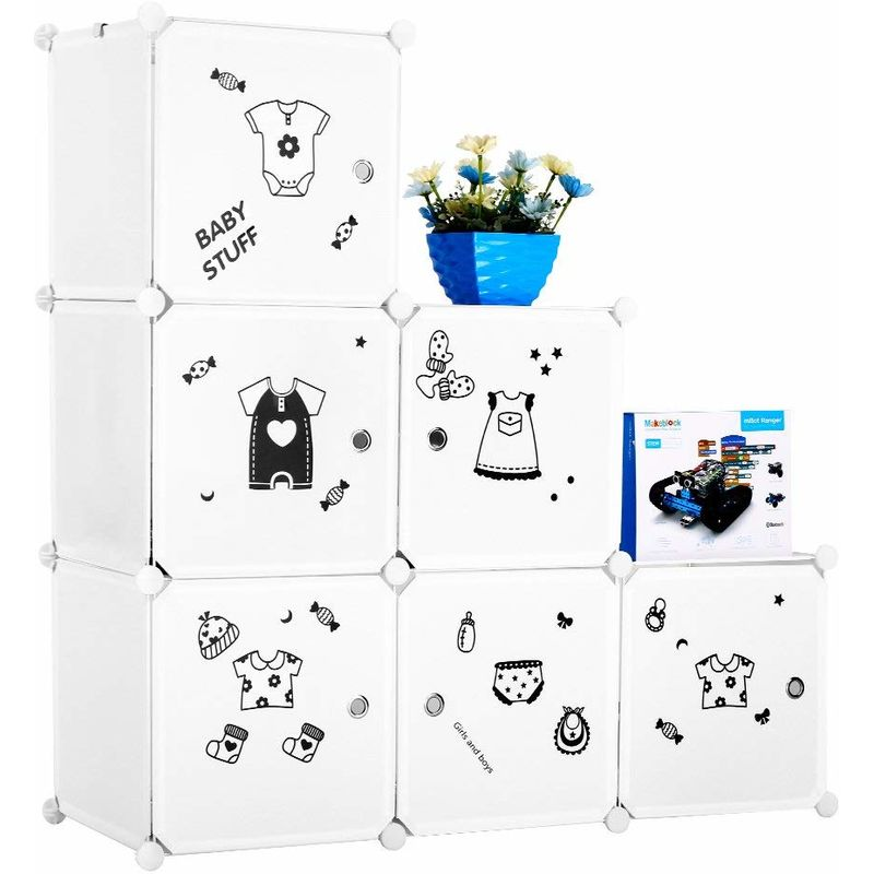 LANGRIA Set Armoire Penderie Modulable 6 Cubes et Table de Chevet avec 2  Cubes, 1 Tige de Vêtements, Autocollants Icones Habilles Bébé pour Décor,  ...