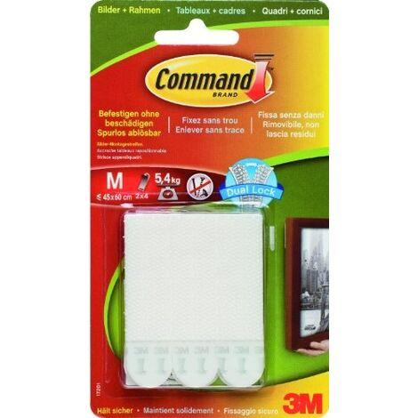Languettes d'accrochage de tableaux - blanc - 4 x 2 moyennes 3M Command