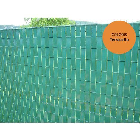 Lanière PVC pour palissade largeur 43 mm x 60 m+100 clips- Terracotta