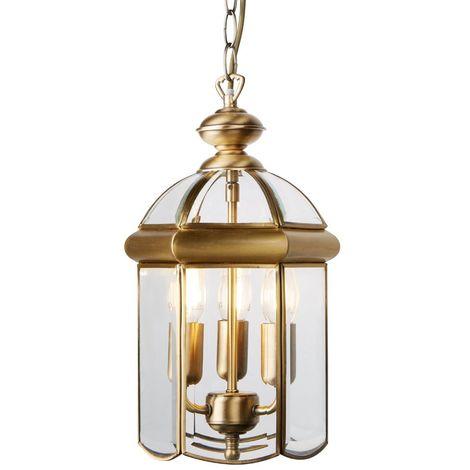LANTERN ANTIQUE BRASS BEVELLED GLASS DOMED 3 LIGHT
