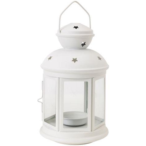 Lanterne Bianche Da Esterno.Lanterna Bianco Vetro Acciaio Portacandela 16x10cm Matrimoni Shabby