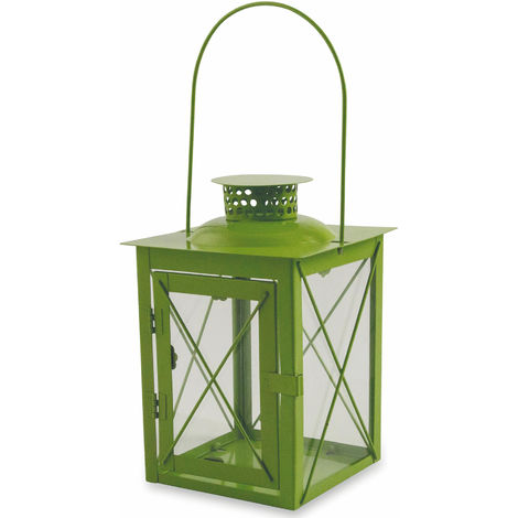 Lanterna Da Giardino In Metallo E Vetro 15x15x21 Cm Soriani Verde