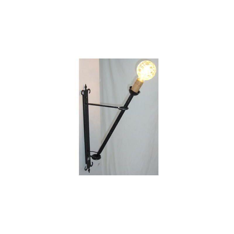 Lanterna da muro torcia grande cm 60 ferro battuto lampade lampione applique