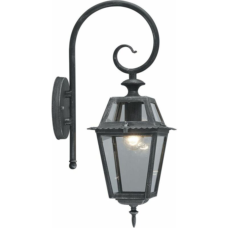 Lanterna da Parate Moderna da Giardino Lampada da Muro per Esterno Metallo Nera