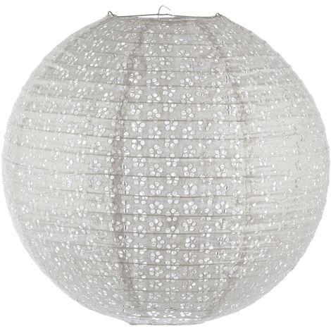 Lanterne Boule ajourée - Diam. 45 cm. - Gris clair