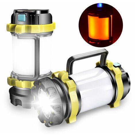Lanterne De Camping Multifonctionnel Ipx4 Lanterne Resistant A L'Eau Lampe De Poche Rechargeable Avec 6 Modes D'Eclairage Pour Camping Urgence Randonnee Pedestre, Vert