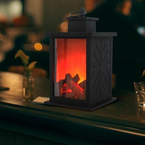 Lanterne de cheminée réaliste décorative et lampe de cheminée de table à piles Lampe de cheminée intérieure / extérieure 1 PC Table de décoration noire Halloween Jardin Patio Porche LAVENTE
