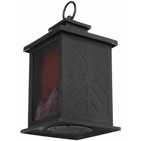 Lanterne de cheminée réaliste décorative et lampe de cheminée de table à piles Lampe de cheminée intérieure / extérieure 1 PC Table de décoration noire Halloween Jardin Patio Porche Hasaki