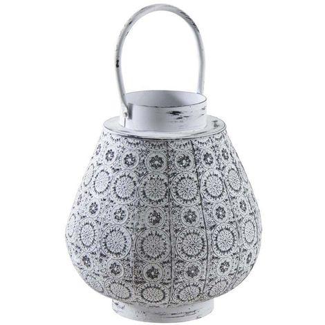 Lanterne en métal mosaique blanc vieilli - Blanc vieilli