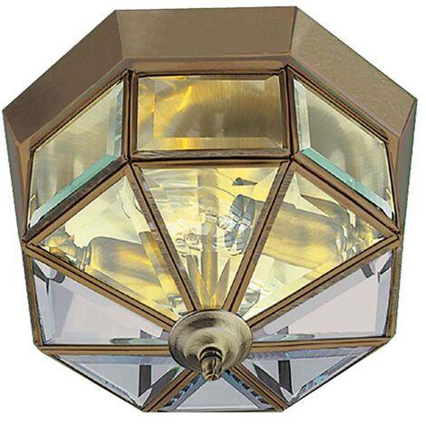 Lanterne Laiton Antique Dôme En Verre 1 Flamme Laiton Antique LAITON ANTIQUE dimmable