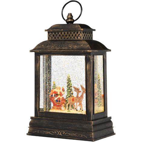 Lanterne LED père Noël - lampe de Noël - neige décoration de Noël 8 musiques USB ou piles noir bronze