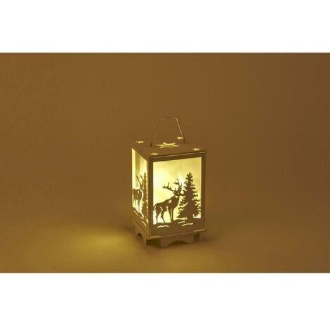 Lanterne Lumineuse déco Renne - 10 LED - H 16 cm - Blanc