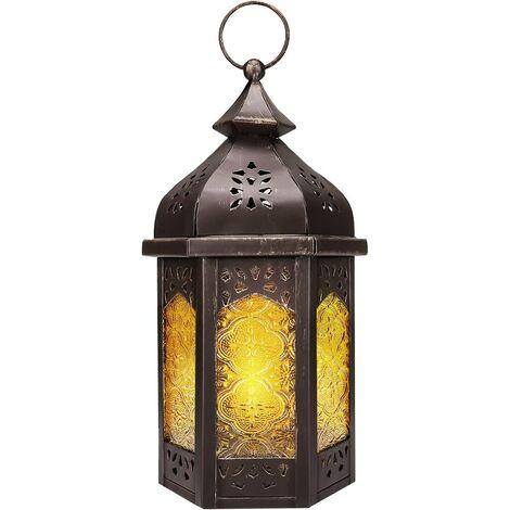 Lanterne Marocaine, Chandelier en Métal Fer et Verre, Lampe Lanterne de Bougie Chandelle en Forme de Pavillon avec Base Plane, Porte-Bougie Décor Extérieur/Intérieur Maison – Cuivré + Jaune
