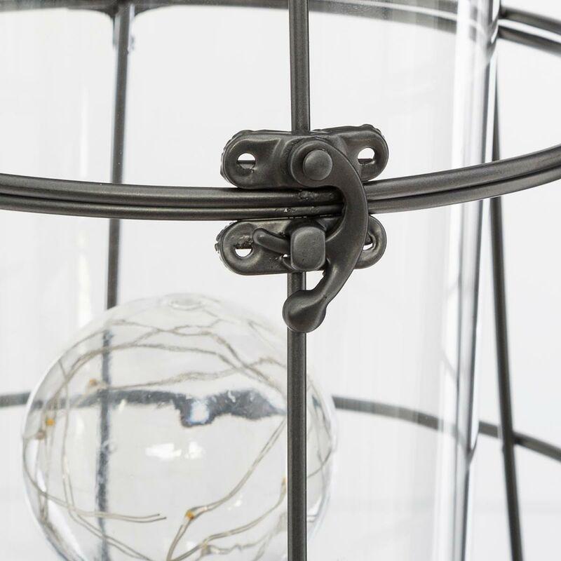 feu de chemin/ée avec fonction minuterie 30 x 30 cm Dekojohnson Lanterne de chemin/ée LED 3D avec effet flamme chemin/ée noire antique
