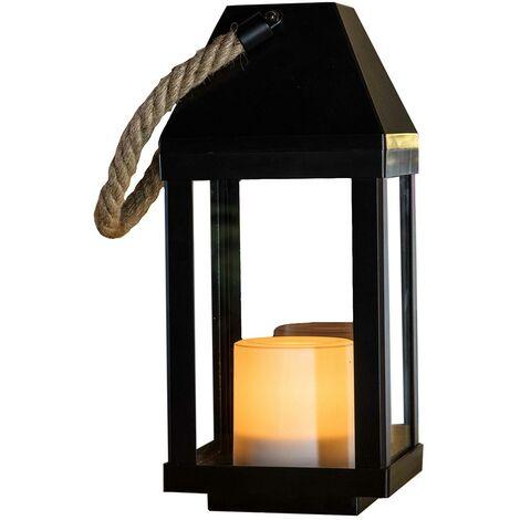 Lanterne photophore solaire décorative poignée en corde effet bougie LED blanc chaud CHANDELY H43cm