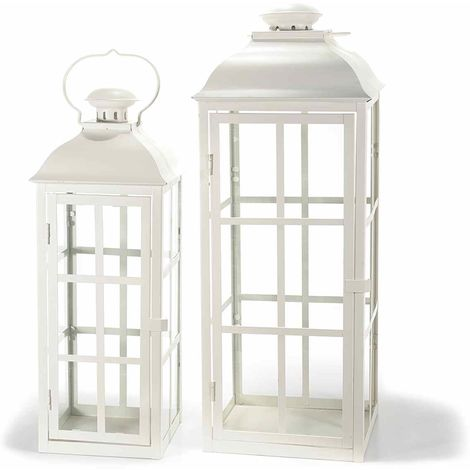 Lanterne porta candela in metallo color bianco quadrate