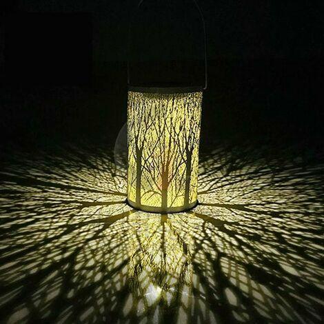Lanterne portable Décoration de jardin étanche Lampe de projection en forme d'arbre Lampe solaire suspendue Lanterne solaire (en forme d'arbre)