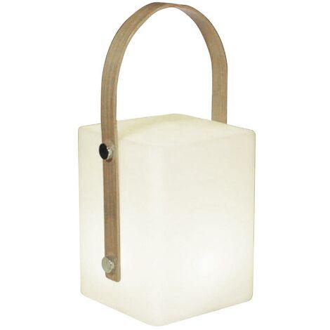Lanterne sans fil poignée bambou LED blanc chaud/multicolore dimmable TIKY H27cm
