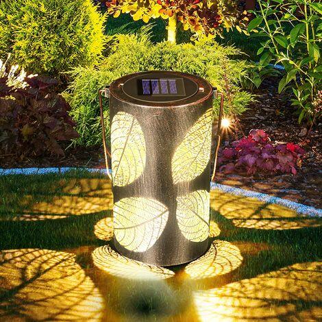 Lanterne Solaire Extérieur de Jardin Paysage, Créatif Jardin Creux Portable Lanterne Eclairage Jardin Décorative Etanche IP44 pour Jardin,Patio,Cour(Motif de Feuille