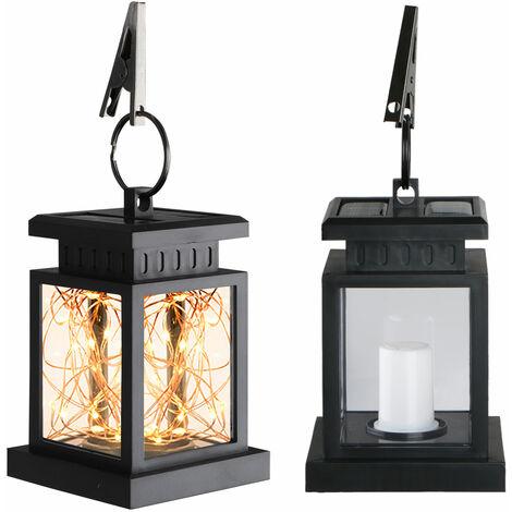 Lanterne solaire extérieure décorative rétro lumières suspendues solaires avec poignée, 30LED lumière de lustre en fil de cuivre blanc chaud pour arbre de passerelle d'allée de paysage de chemin de patio de jardin, marche / arrêt automatique