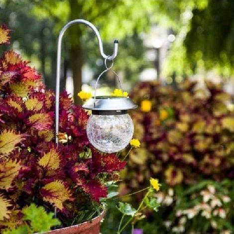 Lanterne solaire inox diffuseur en verre avec effet verre brisé