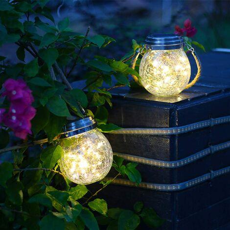 Lanterne solaire pour l'extérieur,lampes solaires pour décoration extérieure de jardin suspendu Lanternes solaires pour l'extérieur imperméable pour Garden Patio Décoration de balcon,2 pièces