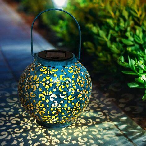 Lanterne solaire solaire décorative pour jardin étanche avec lampe solaire suspendue pour décoration de jardin Bleu