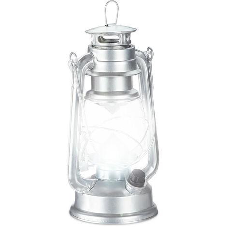 Lanterne tempête LED, Lampe retro comme décoration de fenêtre ou lampe jardin, à piles, Argentée
